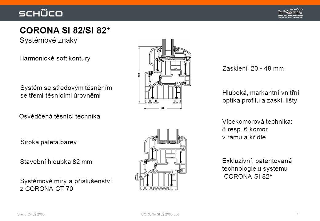 CORONA SI 82/SI 82+ Systémové znaky
