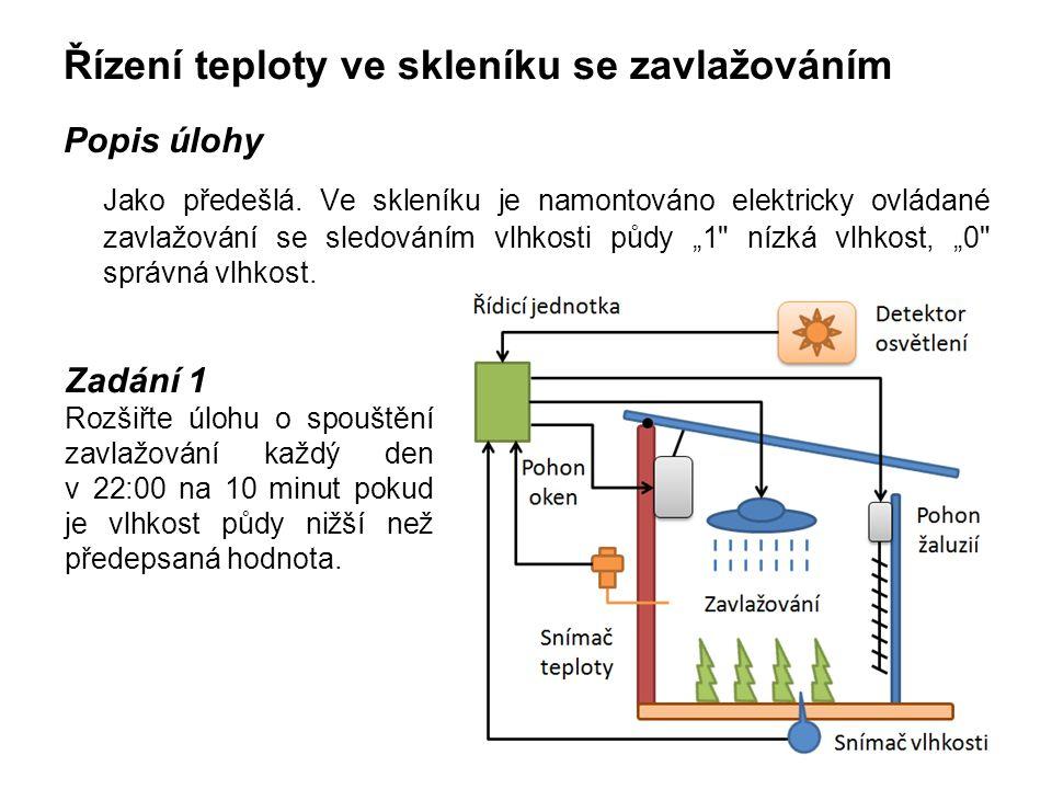 Řízení teploty ve skleníku se zavlažováním