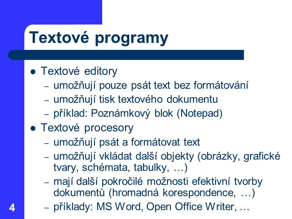 Textové programy Textové editory Textové procesory
