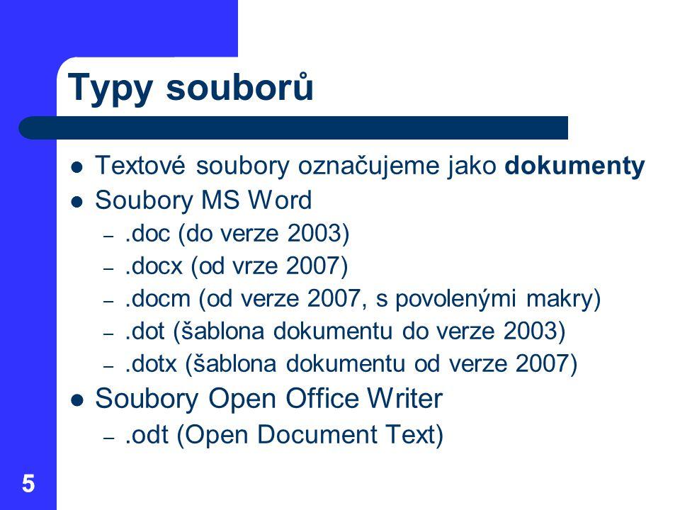 Typy souborů Soubory Open Office Writer