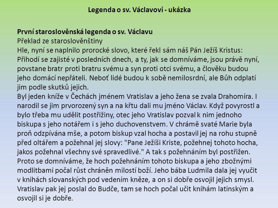 Legenda o sv. Václavovi - ukázka