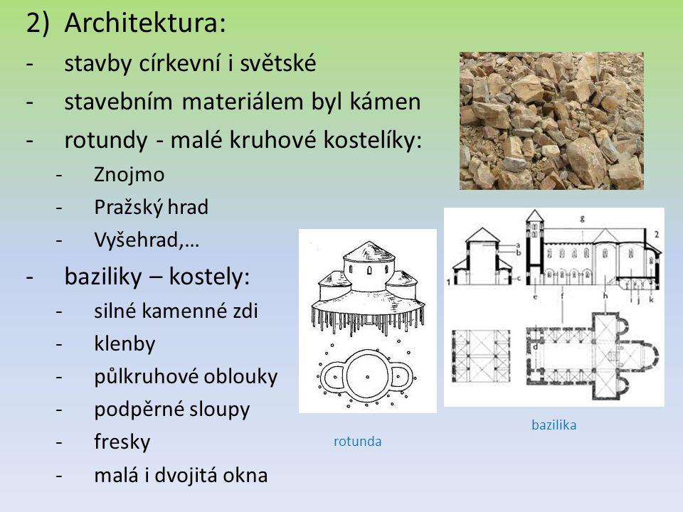 Architektura: stavby církevní i světské stavebním materiálem byl kámen