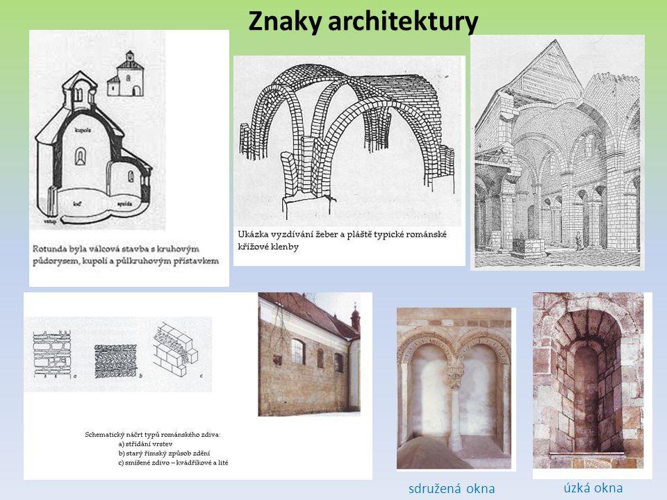 Znaky architektury sdružená okna úzká okna