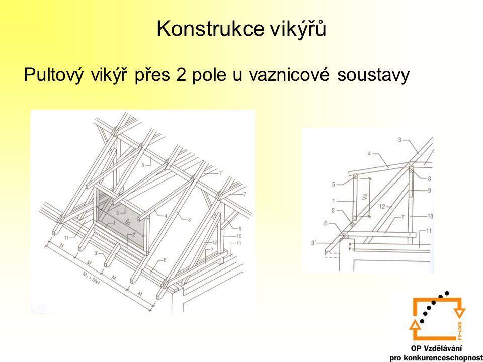 Konstrukce vikýřů Pultový vikýř přes 2 pole u vaznicové soustavy