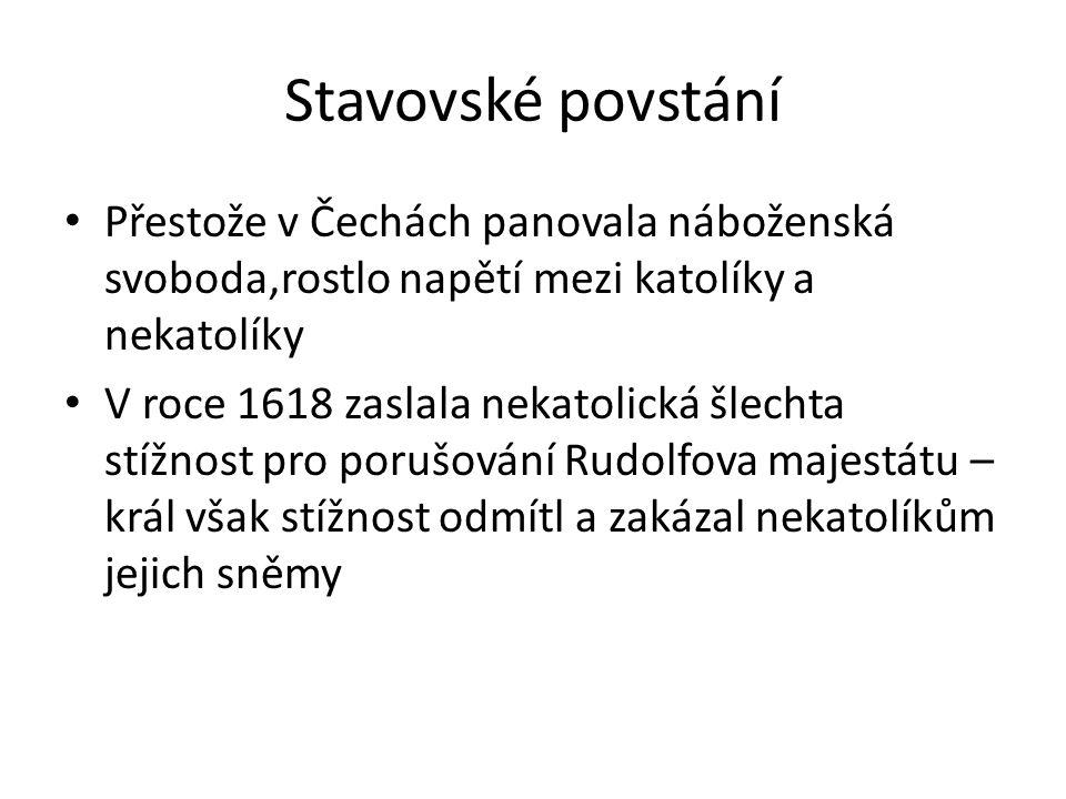 Stavovské povstání Přestože v Čechách panovala náboženská svoboda,rostlo napětí mezi katolíky a nekatolíky.