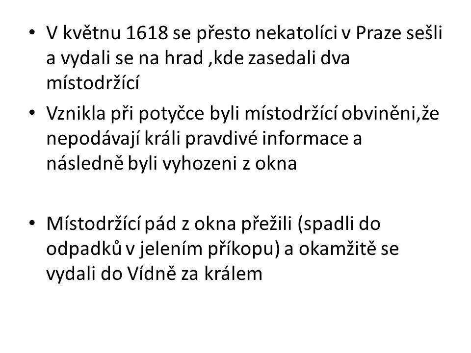 V květnu 1618 se přesto nekatolíci v Praze sešli a vydali se na hrad ,kde zasedali dva místodržící