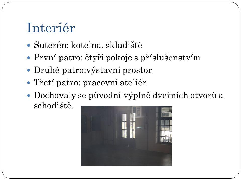 Interiér Suterén: kotelna, skladiště