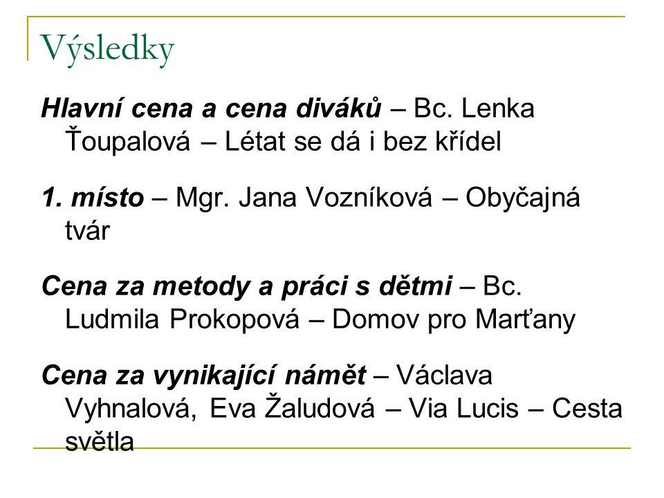 Výsledky Hlavní cena a cena diváků – Bc. Lenka Ťoupalová – Létat se dá i bez křídel. 1. místo – Mgr. Jana Vozníková – Obyčajná tvár.
