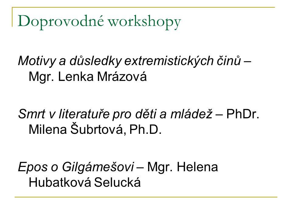 Doprovodné workshopy Motivy a důsledky extremistických činů – Mgr. Lenka Mrázová. Smrt v literatuře pro děti a mládež – PhDr. Milena Šubrtová, Ph.D.