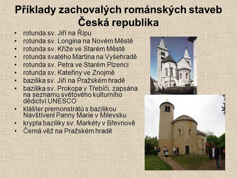 Příklady zachovalých románských staveb Česká republika