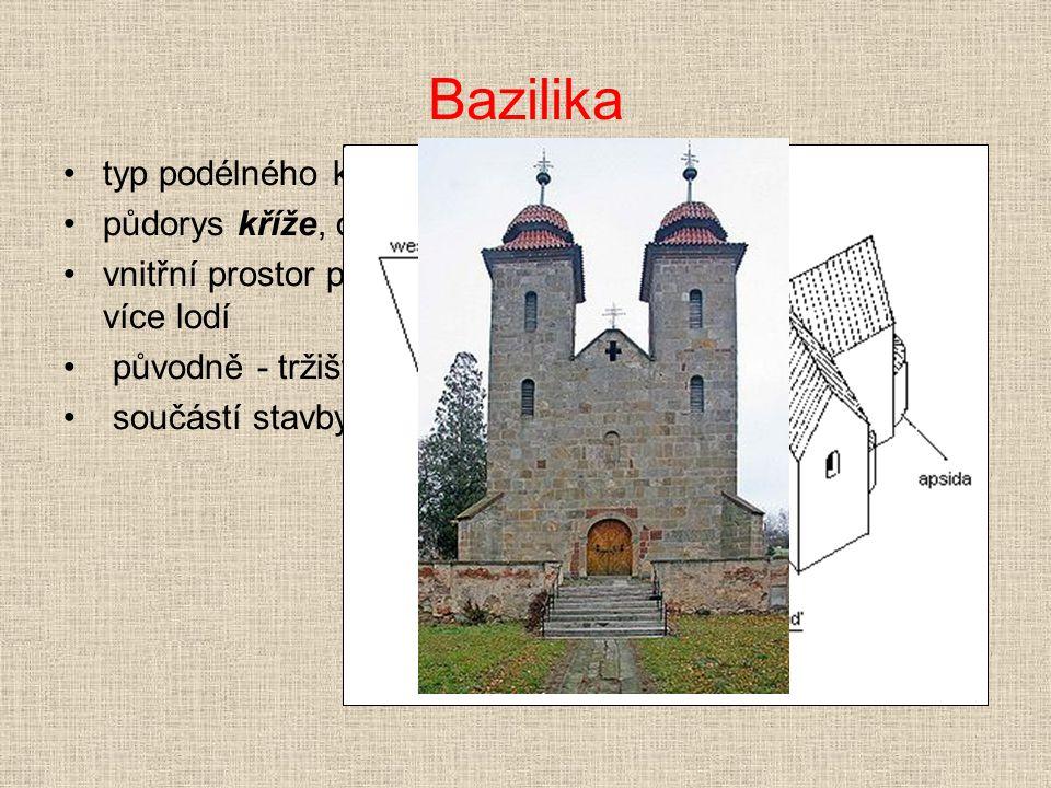Bazilika typ podélného kostela půdorys kříže, obdélníková stavba