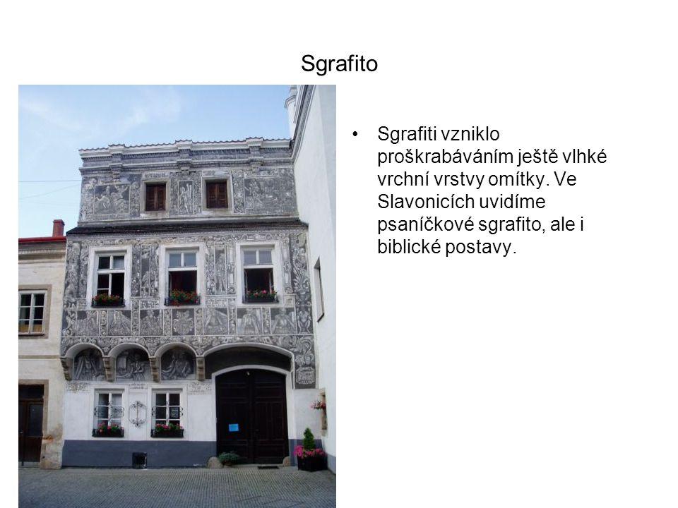 Sgrafito Sgrafiti vzniklo proškrabáváním ještě vlhké vrchní vrstvy omítky.