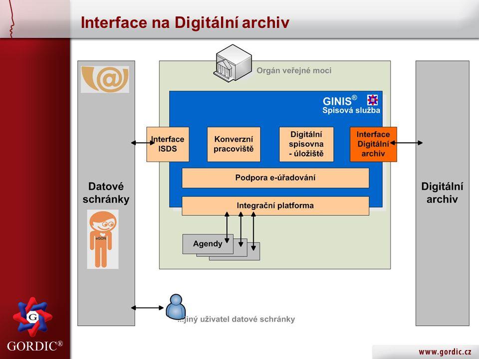 Interface na Digitální archiv