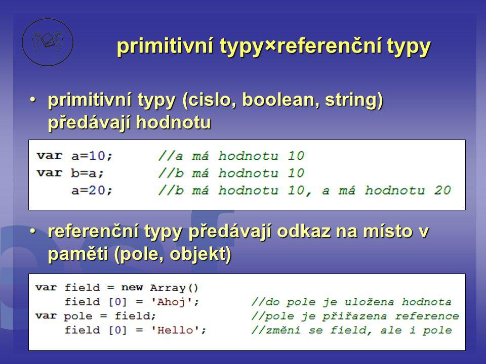 primitivní typy×referenční typy