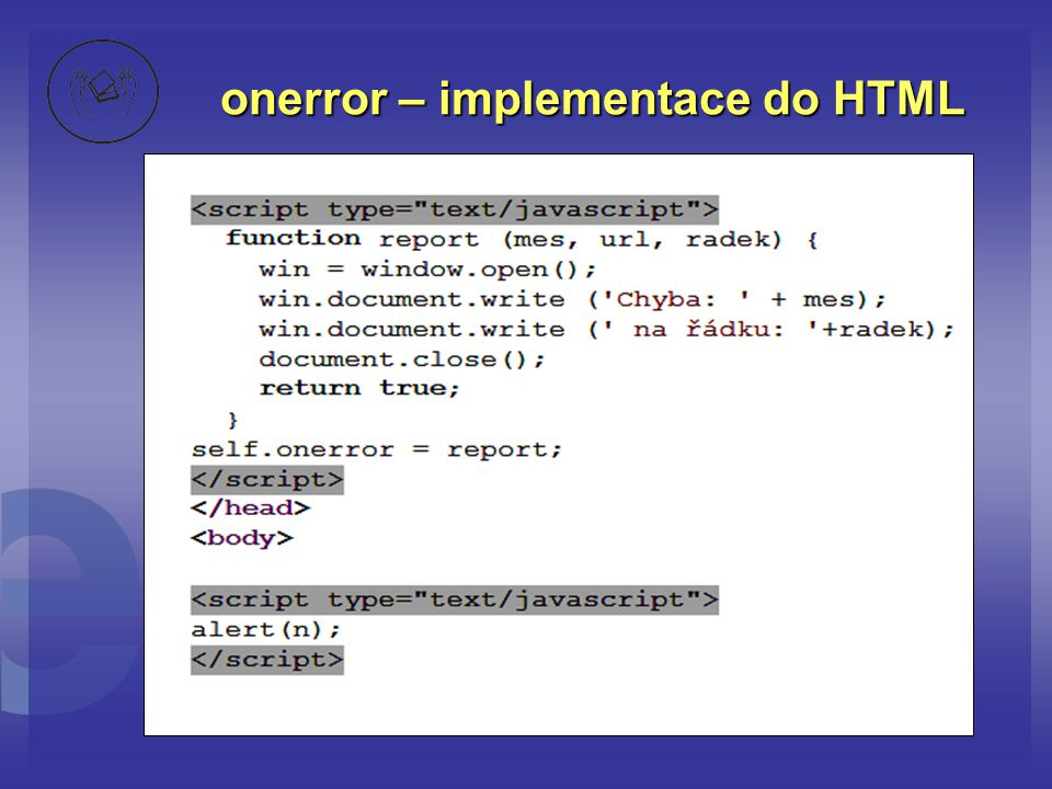 onerror – implementace do HTML