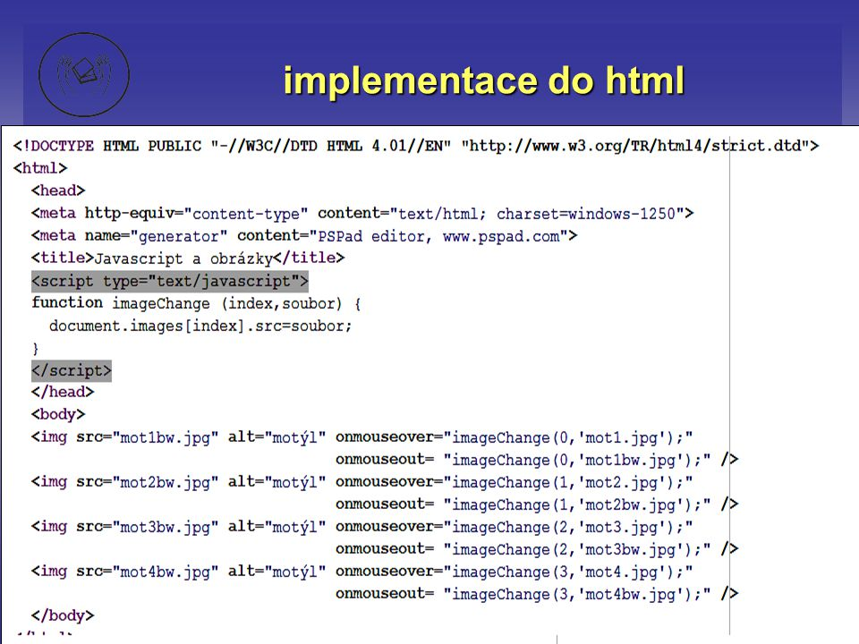 implementace do html
