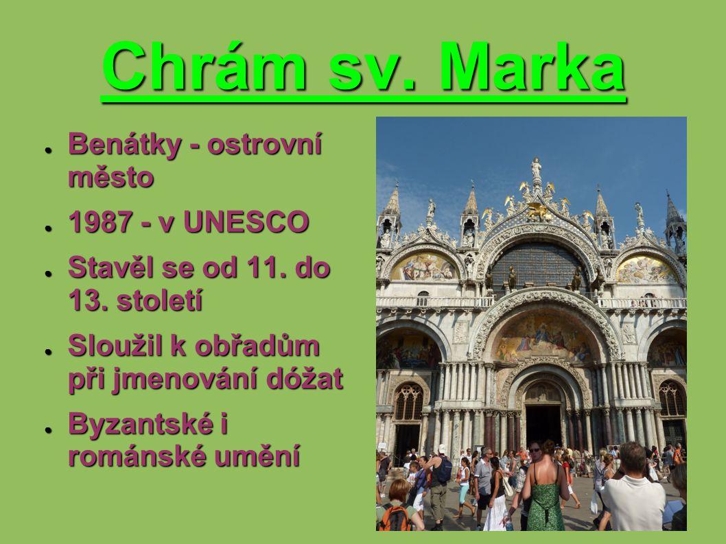Chrám sv. Marka Benátky - ostrovní město 1987 - v UNESCO