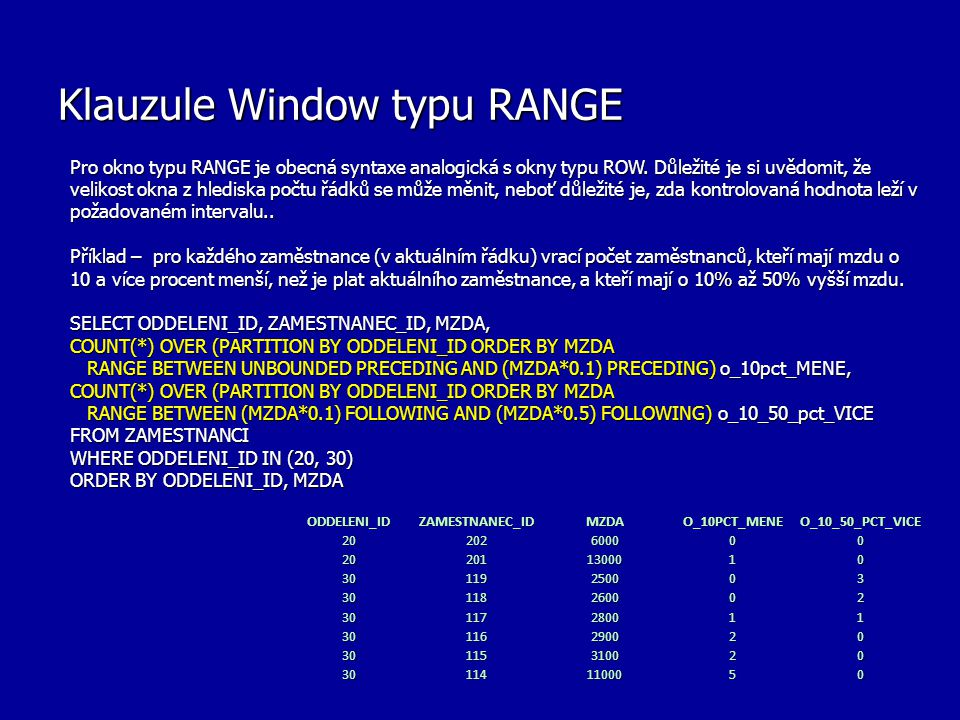 Klauzule Window typu RANGE