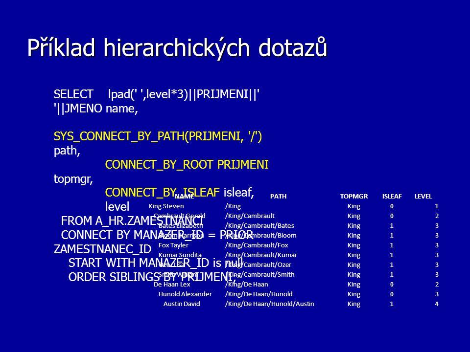 Příklad hierarchických dotazů