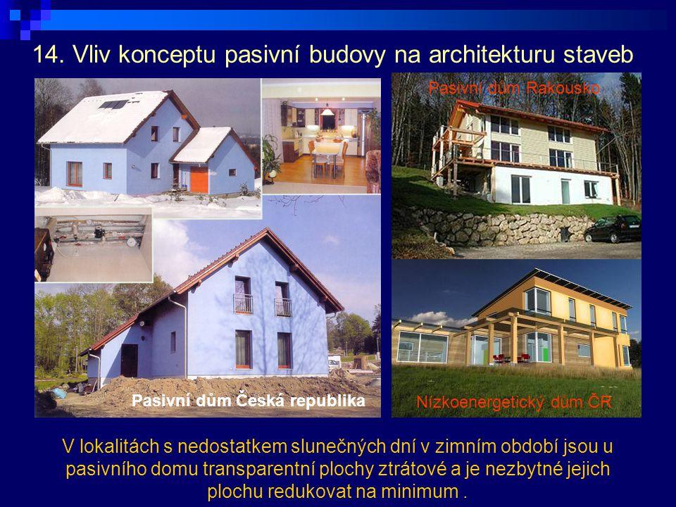 14. Vliv konceptu pasivní budovy na architekturu staveb