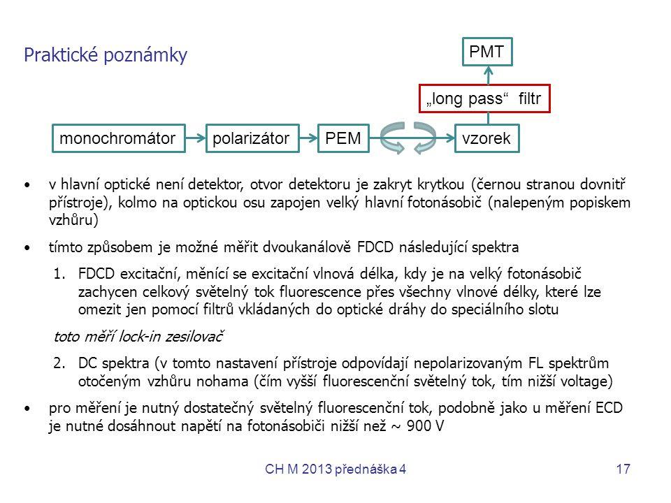 """Praktické poznámky PMT """"long pass filtr monochromátor polarizátor PEM"""