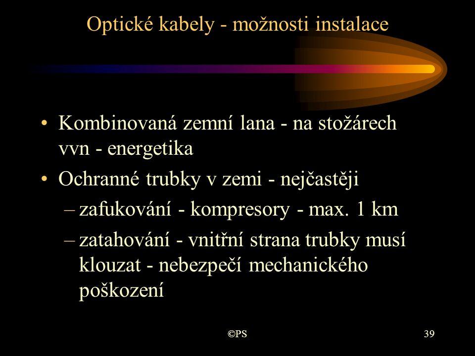 Optické kabely - možnosti instalace