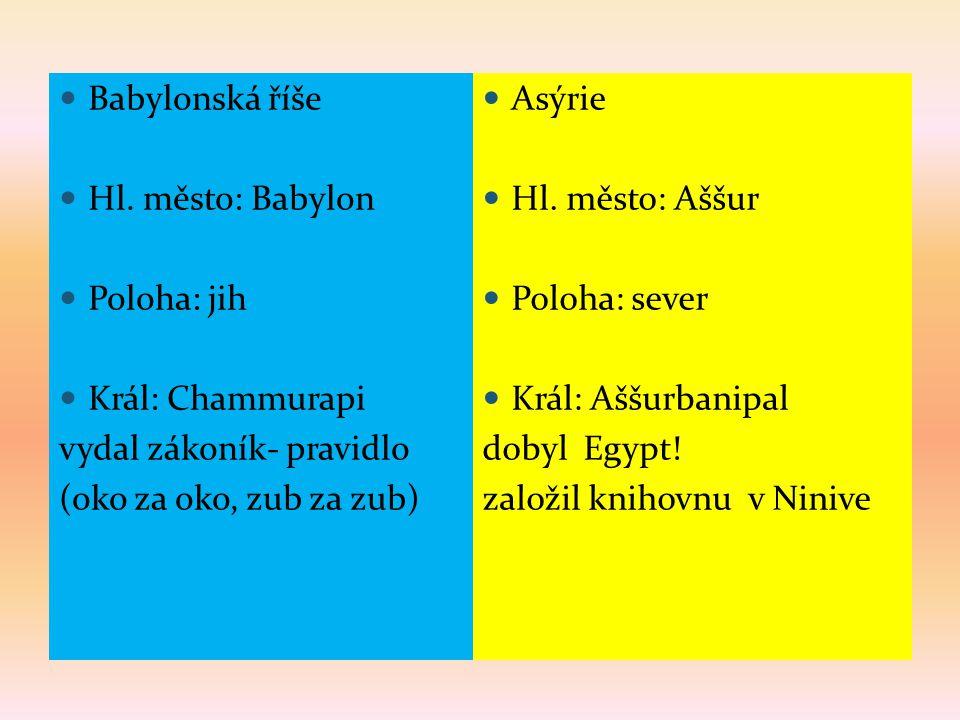 Babylonská říše Hl. město: Babylon. Poloha: jih. Král: Chammurapi. vydal zákoník- pravidlo. (oko za oko, zub za zub)