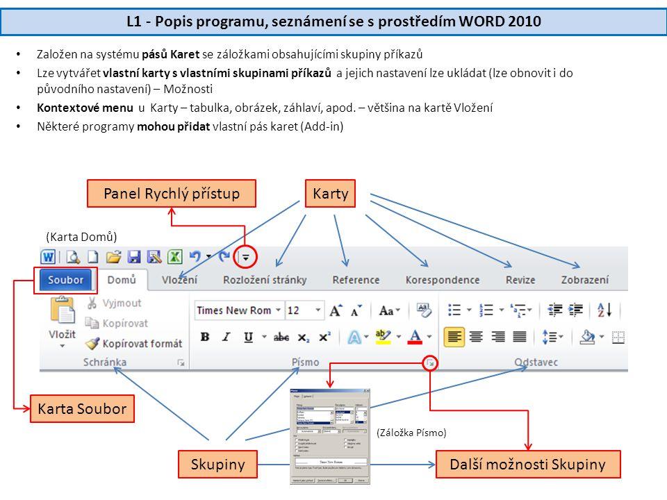 L1 - Popis programu, seznámení se s prostředím WORD 2010