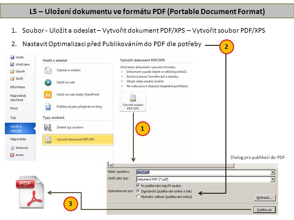 L5 – Uložení dokumentu ve formátu PDF (Portable Document Format)