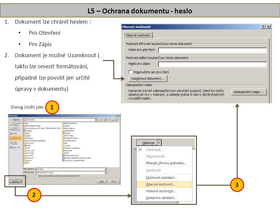 L5 – Ochrana dokumentu - heslo