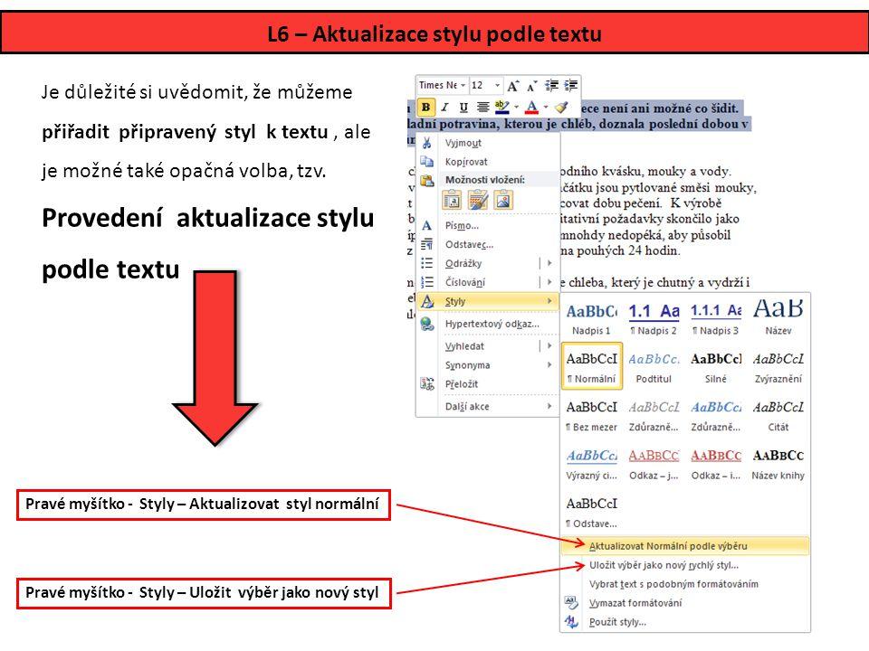 L6 – Aktualizace stylu podle textu