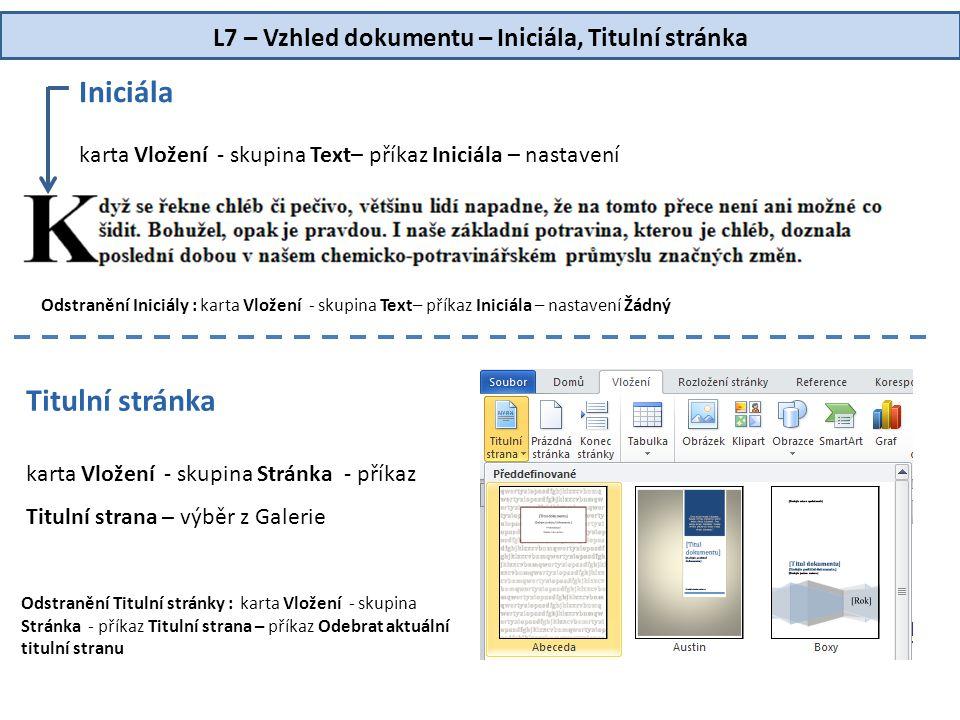 L7 – Vzhled dokumentu – Iniciála, Titulní stránka