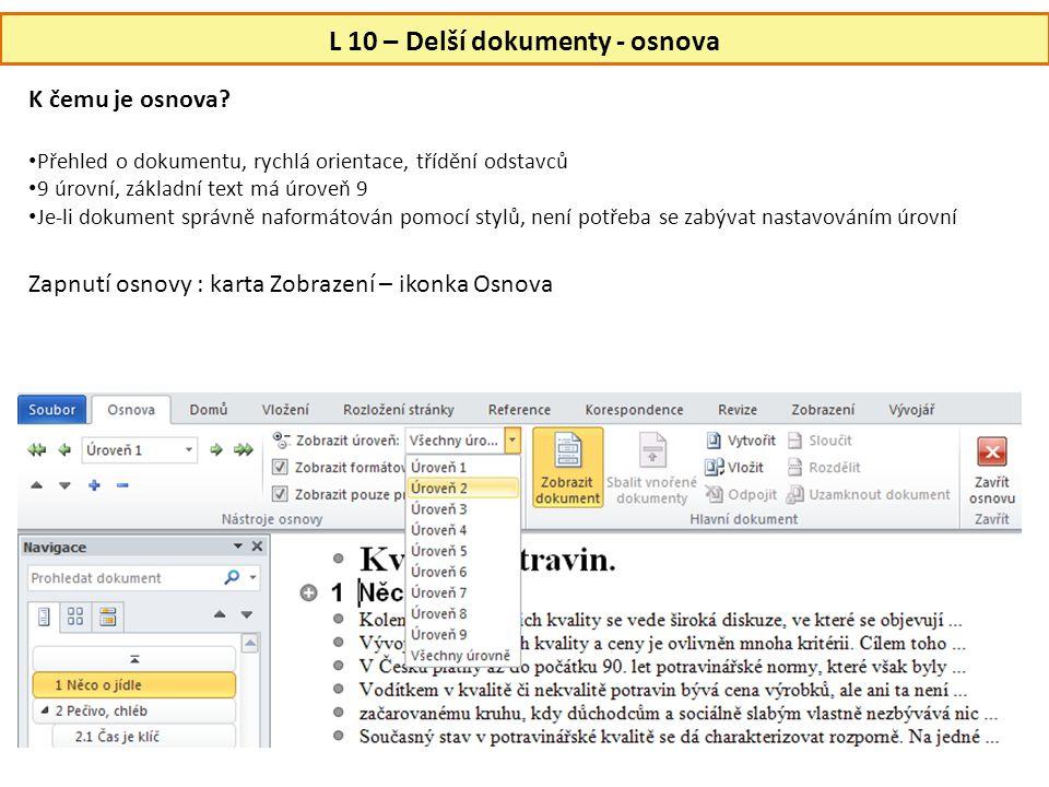 L 10 – Delší dokumenty - osnova