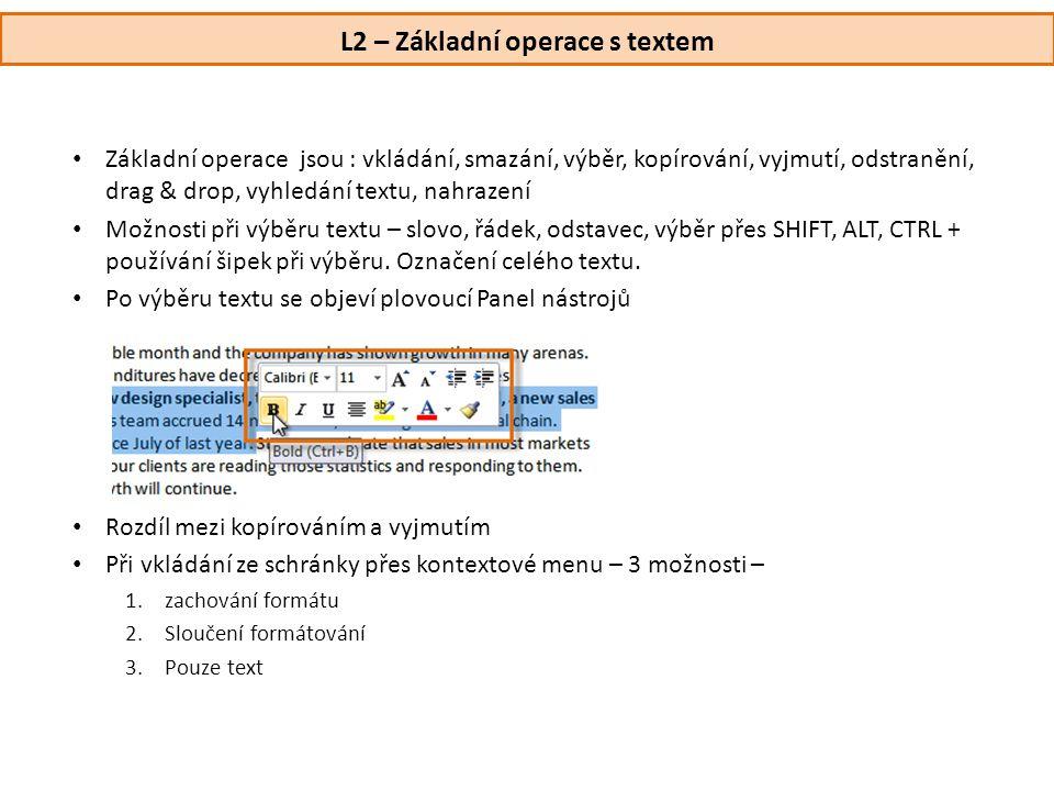 L2 – Základní operace s textem