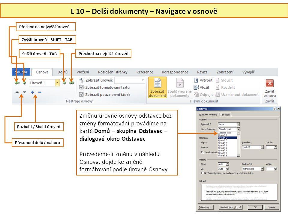 L 10 – Delší dokumenty – Navigace v osnově
