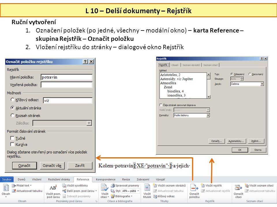 L 10 – Delší dokumenty – Rejstřík