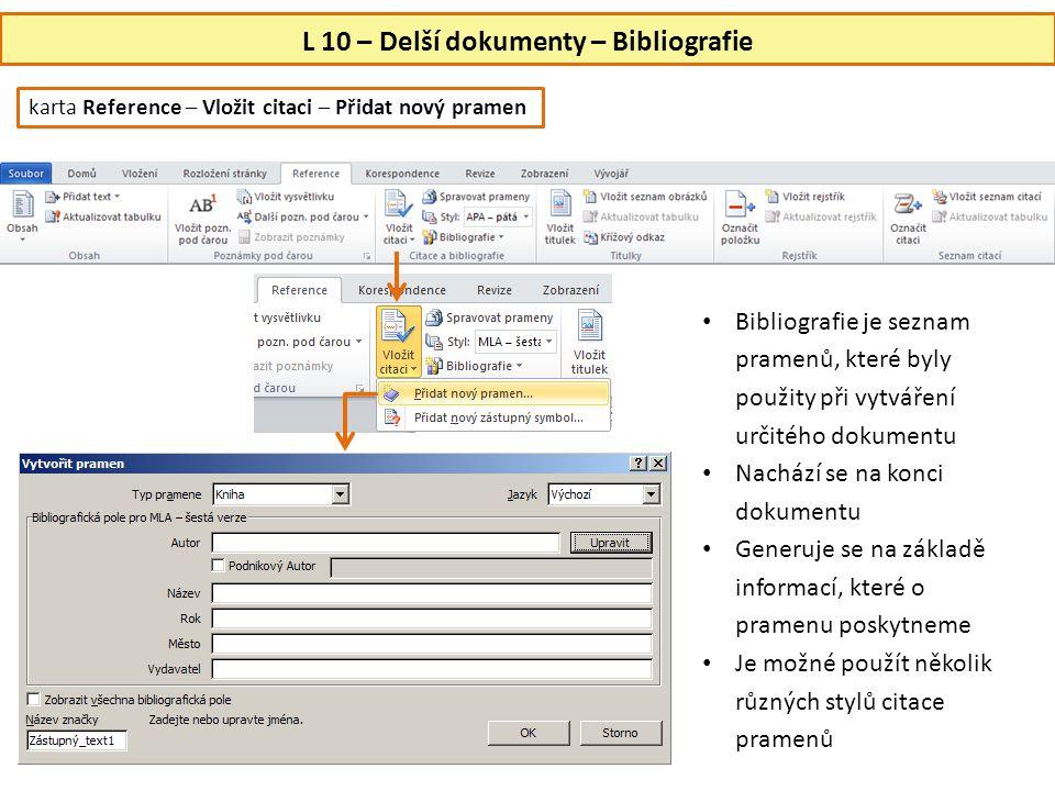 L 10 – Delší dokumenty – Bibliografie