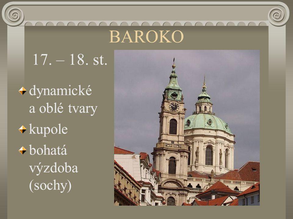 BAROKO 17. – 18. st. dynamické a oblé tvary kupole