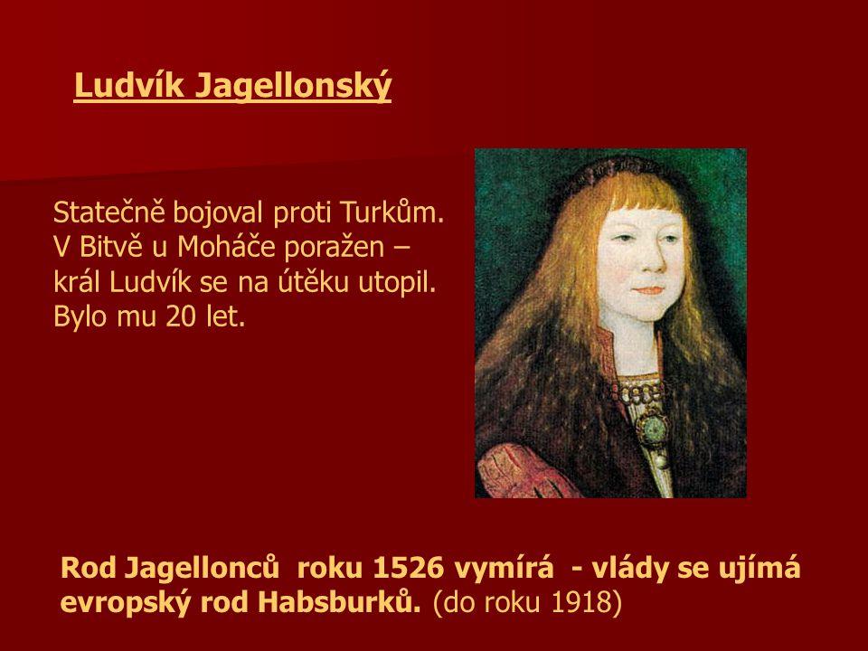 Ludvík Jagellonský Statečně bojoval proti Turkům. V Bitvě u Moháče poražen – král Ludvík se na útěku utopil. Bylo mu 20 let.