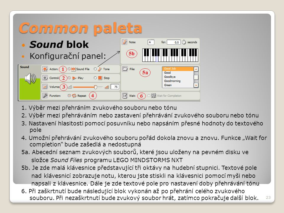Common paleta Sound blok Konfigurační panel: