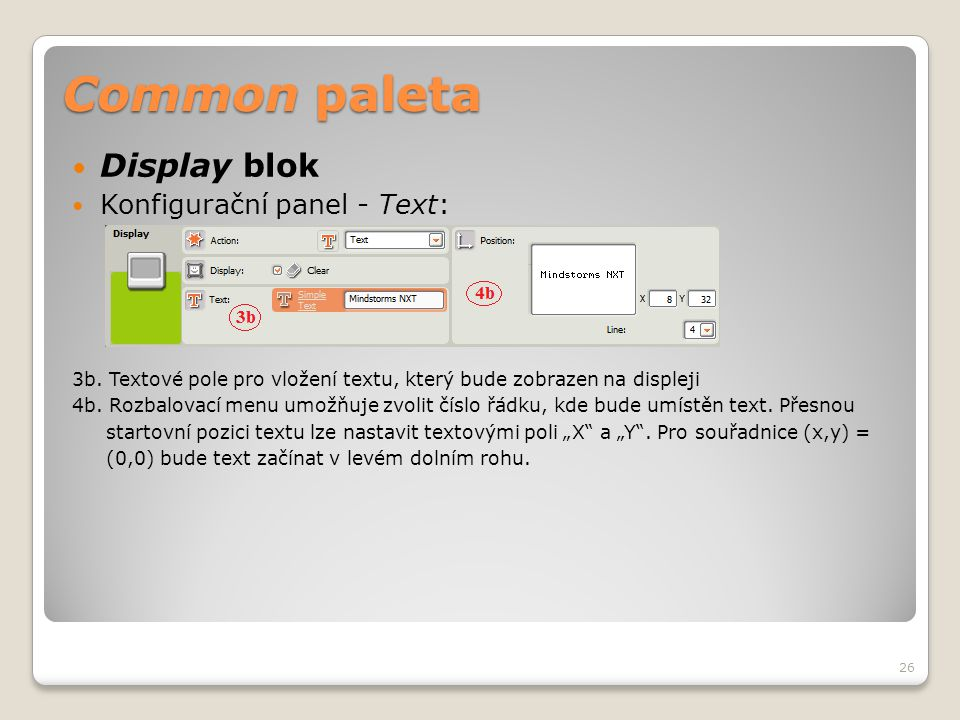Common paleta Display blok Konfigurační panel - Text: