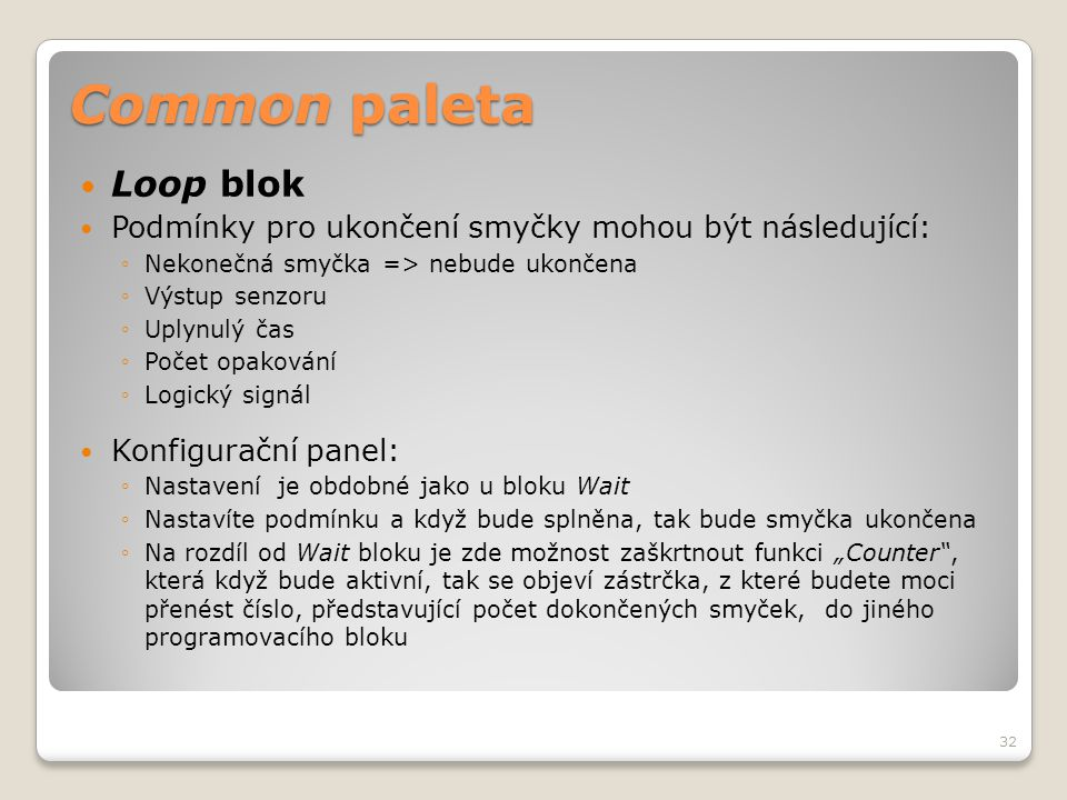 Common paleta Loop blok