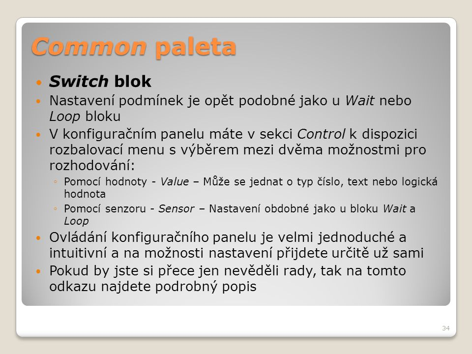 Common paleta Switch blok