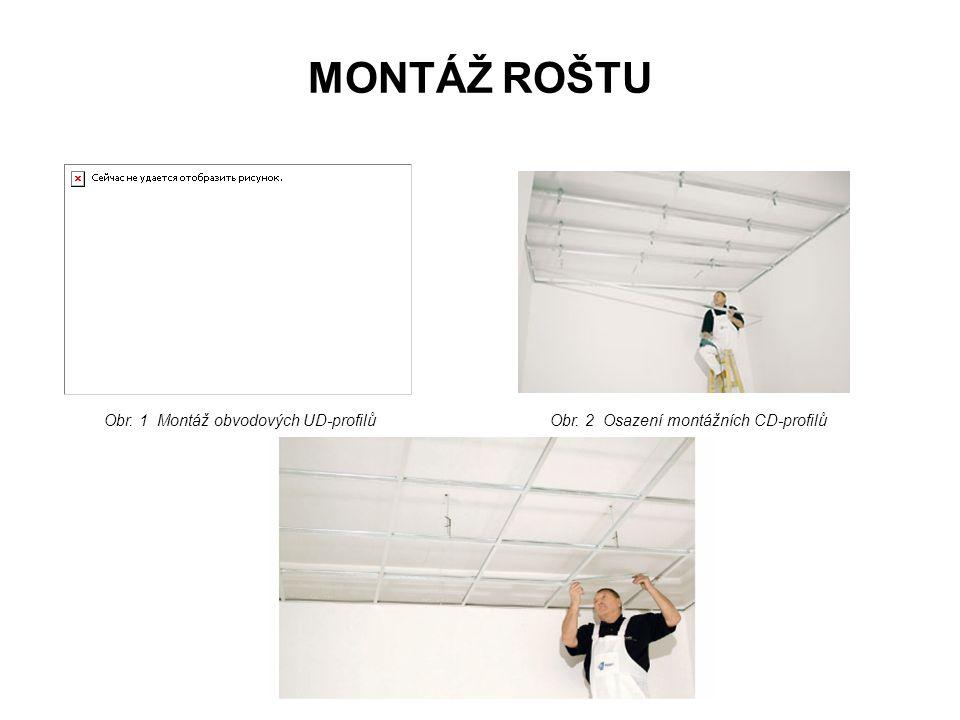 MONTÁŽ ROŠTU Obr. 1 Montáž obvodových UD-profilů
