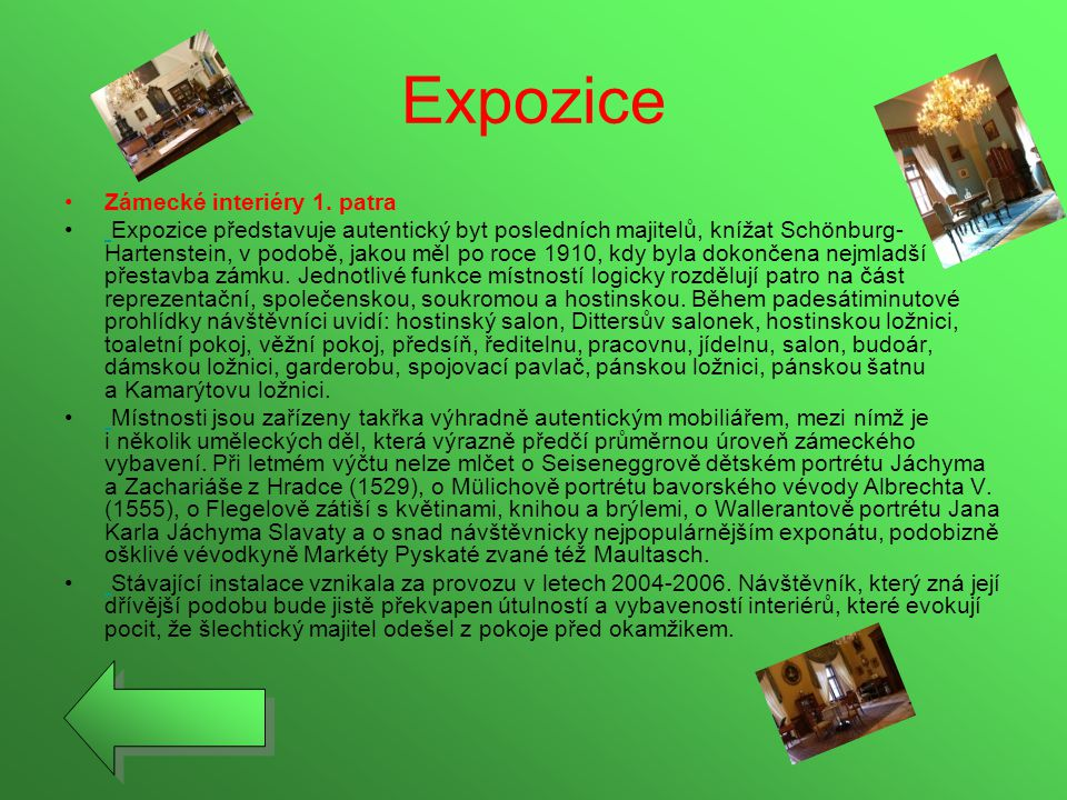 Expozice Zámecké interiéry 1. patra