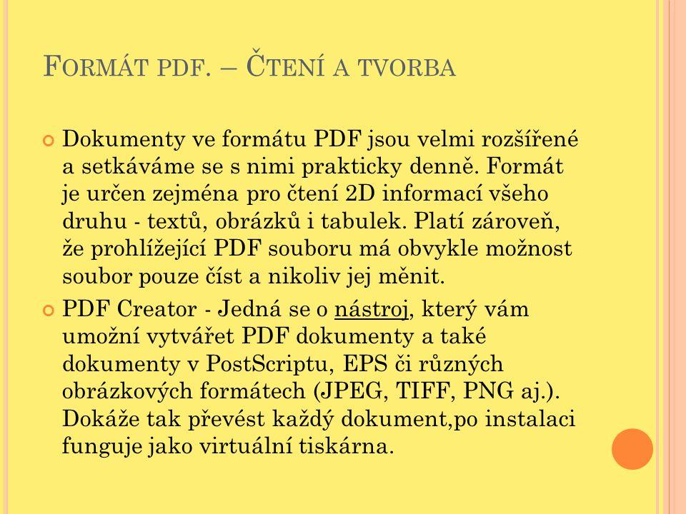 Formát pdf. – Čtení a tvorba