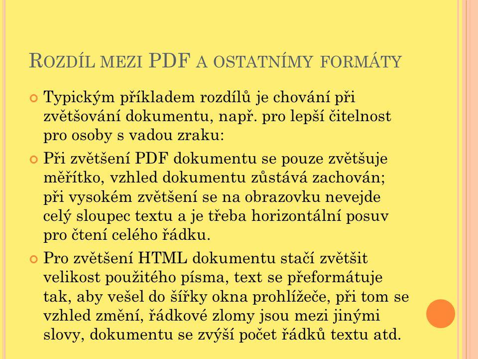 Rozdíl mezi PDF a ostatnímy formáty