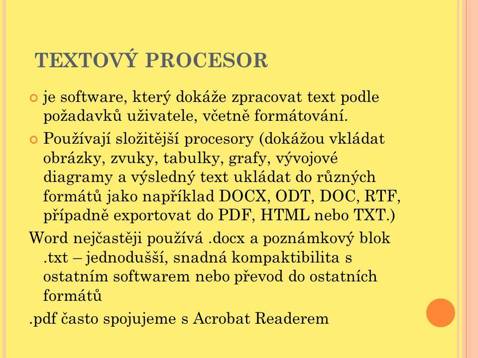 TEXTOVÝ PROCESOR je software, který dokáže zpracovat text podle požadavků uživatele, včetně formátování.