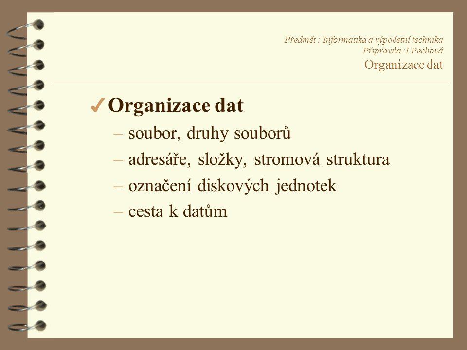 Organizace dat soubor, druhy souborů
