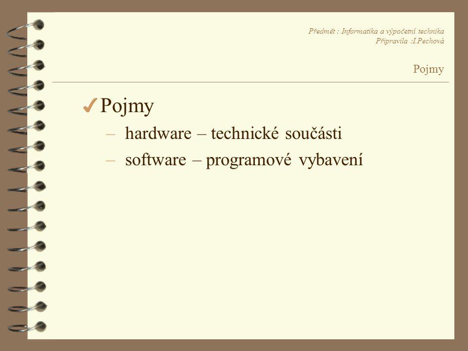 Předmět : Informatika a výpočetní technika Připravila :I.Pechová Pojmy